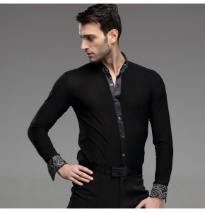 Black Man Ballroom Dance Tops Long Sleeve Mens Latin Shirts Lapel/Collar 50-90kg Practice/Performance Dancewear Top