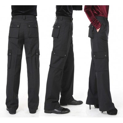 BLACK Mens Ballroom Dance Pants Wide-Legged With Pocket Latin Dance Trousers Pants Men/women Modern Dance Pants Dancewear