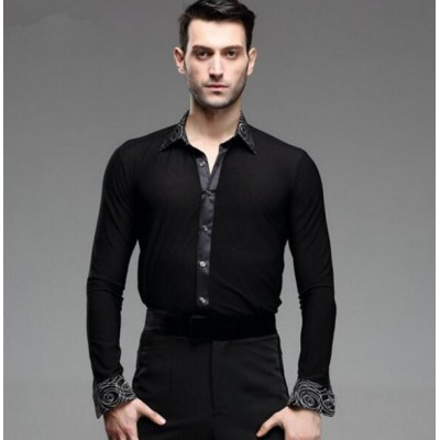 black New Man Ballroom Dance Tops Long Sleeve Mens Latin Shirts Lapel/Collar 50-90kg Practice/Performance Dancewear Top