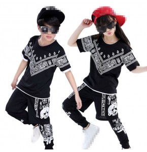 Black printed 3in1 boys kids children girls baby school competition hip hop dance costumes outfits
