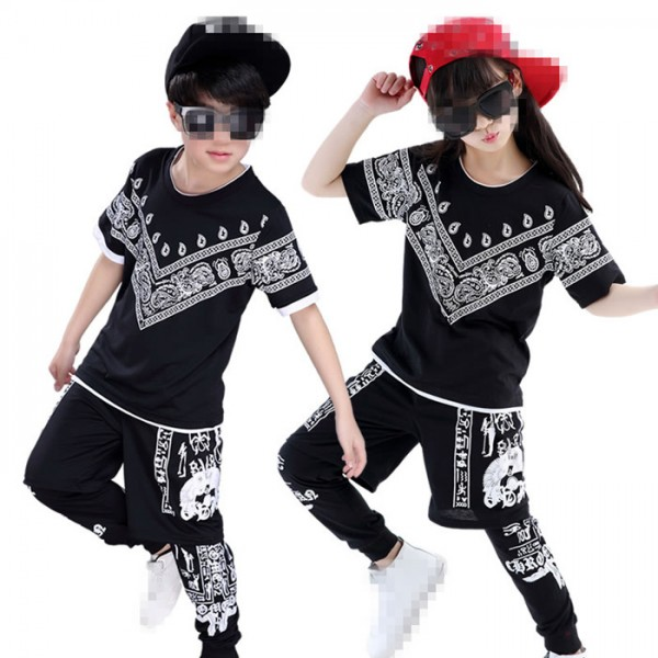 Black printed 3in1 boys kids children girls baby school competition hip hop dance costumes outfits  sc 1 st  Wholesaledancedress.com & Black printed 3in1 boys kids children girls baby school competition ...
