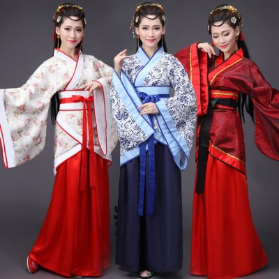 Black red ancient chinese costume women folk dance qing dynasty tradition wear costumes for fan fancy dress hanfu cosplay clothes china