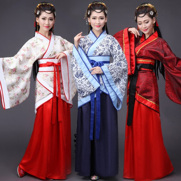 black red ancient chinese costume women folk dance qing dynasty
