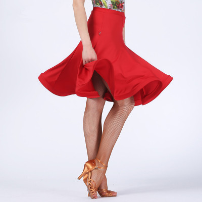 Black red fish bone hem women's female competition performance latin salsa cha cha dance skirts