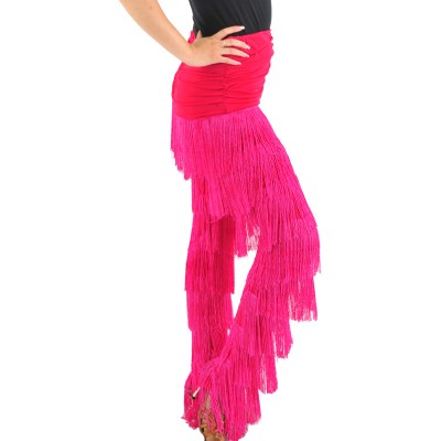 Black Red fuchsia Blue White Latin Dance Salsa Woman Pants Girls Tango Dance Costumes Fringe Clothes / Samba Pants