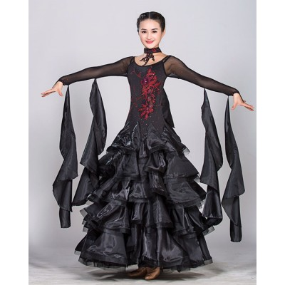 Black red fuchsia hot pink long sleeves competition stage performance professional long length women's female ballroom tango waltz dancing dresses