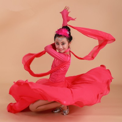Black red fuchsia hot pink long sleeves v neck girl's kids children competition professional ballroom tango waltz dancing dresses