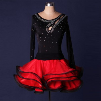Black red fuchsia patchwork turquoise rhinestones competition long sleeves performance latin salsa ballroom dance dresses