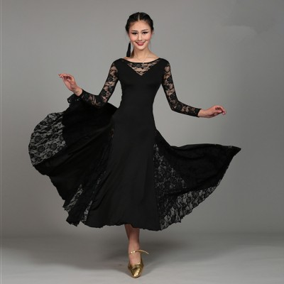 Black red fuchsia royal blue green turquoise lace patchwork long sleeves women's female competition professional ballroom tango cha cha dance dresses