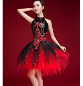 Black red gradient female singer party cosplay DS costumes DJ bar  ultra Sleeveless paillette  jazz dance clothing dresses