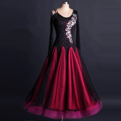 Black red hot pink Ballroom dance costumes rhinestones senior long sleeves professional competition ballroom dance dress for women