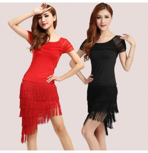 Black red Latin dance dress Special offer latin dance dress women Latin dance costume latin salsa dresses fringe dress