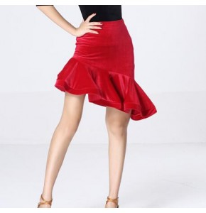 Black red latin Dance Performances Velvet Skirt Adult Children Practice Dance Skirt Dance Skirt Latin Ballroom Costume