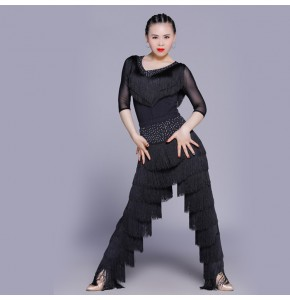 black red Latin fringes costumes women's female competition performance professional latin salsa cha cha rumba dance dresses costume