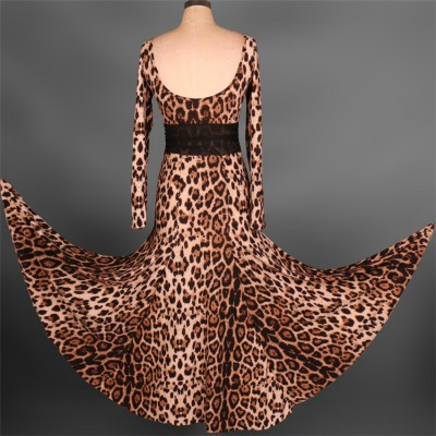Black red leopard long sleeves long length competition professional women's flamenco ballroom waltz dancing dresses