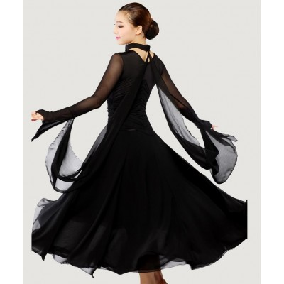 Black red long length women's microfiber competition ballroom tango waltz dancing dresses outfits