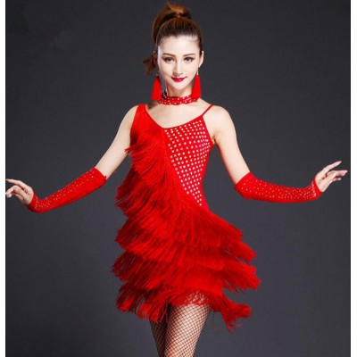 Black red new design fringe lady latin dance dresses sexy women Sequin Latin Dance Dress for ballroom dancing Vestido latino