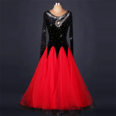 Black red patchwork long sleeves handmade stones stretchy long length competition women's ballroom tango waltz dance dresses