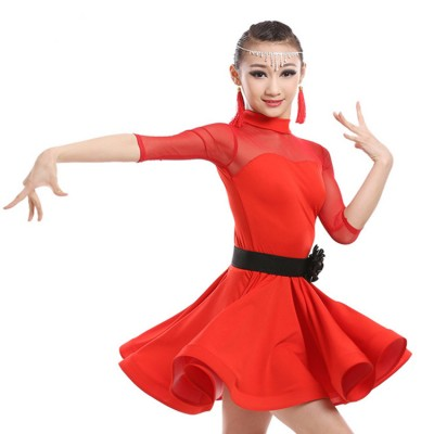 Black red royal blue fuchsia see through  sleeves front sexy girl's performance competition gymnastics latin salsa ballroom dance dresses