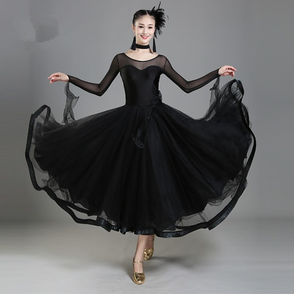 Black red royal blue long sleeves satin ribbon big skirted women\\\'s ...