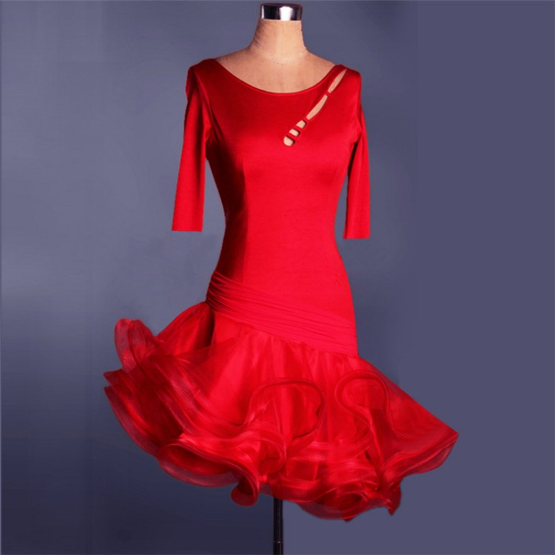 0a73912f8cf Black red royal blue purple short sleeves competition performance women s latin  ballroom dance dresses