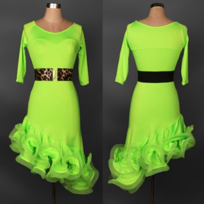 Black red royal blue purple yellow neon green hot pink short sleeves competition women's girls female latin cha cha rumba dance dresses
