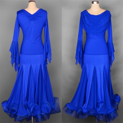 Black red violet purple royal blue long flare sleeves competition performance women's female ballroom dancing dresses