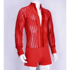 Black red Waltz Latin Dance Top Men competition long sleeve striped  Latin Dance Shirts Men Ballroom Dance leotards Shirts