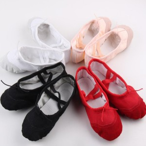 Black red white beige Womens Professional Soft Flats Peep Toes Ballet Dance Shoe Ladies Girls Belly Dancing Shoes