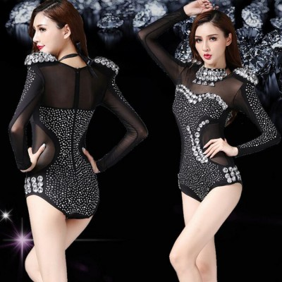 Black Rhinestone Jazz Dance pole dance Modern Dance Costume Fashion High Quality Dancing Dress Stage Show Dresses