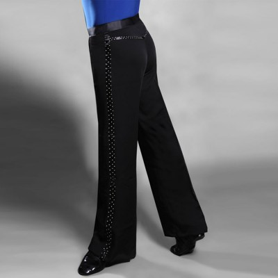 Black rhinestones ribbon leg side competition professional performance men's male ballroom latin dance pants