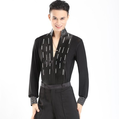 Black rhinestones v neck men'e male competition stage performance ballroom waltz tango Latin dance leotards shirts