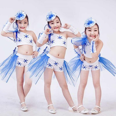 Black royal blue light pink sequins modern dance girls school competition jazz singers cosplay dance outfits costumes