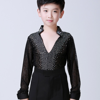 Black Royal blue White lace diamond Spandex Stage Performance Competition Boys Ballroom Dancing Shirt / Boys Latin leotards Shirt