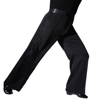 Black royal blue yellow fringes side leg competition performance professional men's male latin ballroom dance pants