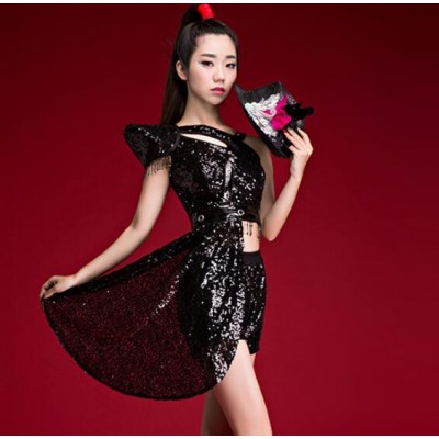 Black sequined glitter women's girl's female modern dance singers dancers jazz hip hop cosplay dancing dresses costumes