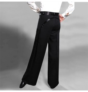 Black side leg ribbon  straight wide leg men's male competition performance practice ballroom latin waltz dancing pants