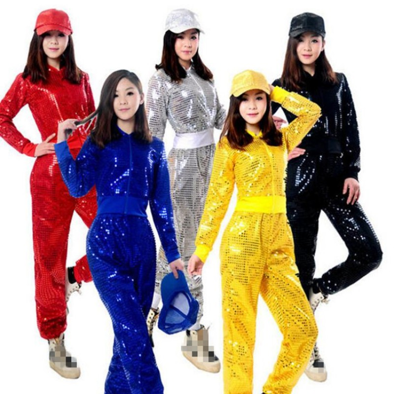 Black Silver Gold Red Royal Blue Sequined Long Sleeves Competition Performance Girls Womens Jazz Hip Hop