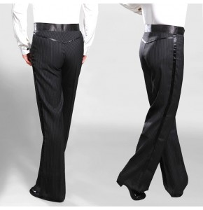 Black striped straight wide leg men's male side ribbon competition professional stage performance waltz tango ballroom latin dance pants