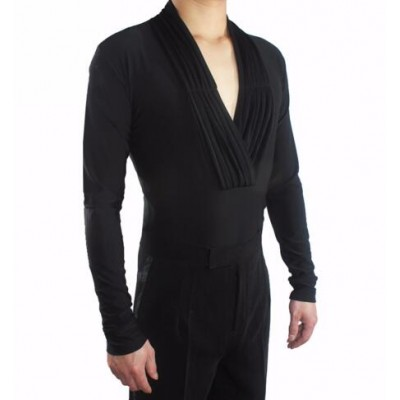 Black v neck men's male pleated front competition exercises professional ballroom latin cha cha rumba waltz dance leotards shirts tops