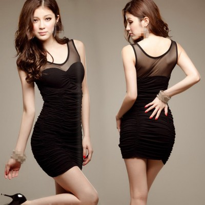 Black v neck see through front back sexy fashion women's jazz singer performance night club bar dresses