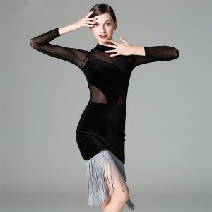 Black velvet grey fringes women's female  competition professional ballroom salsa cha cha  latin salsa dance dresses outfits costumes