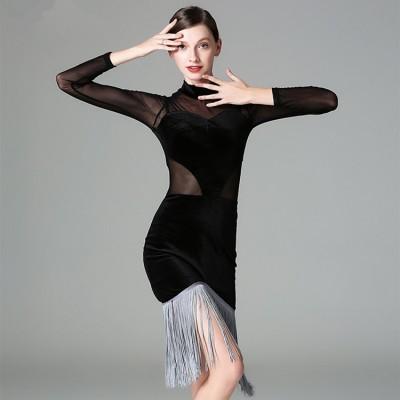 20857fc91b4d7 Black velvet grey fringes women's female competition professional ballroom salsa  cha cha latin salsa dance dresses