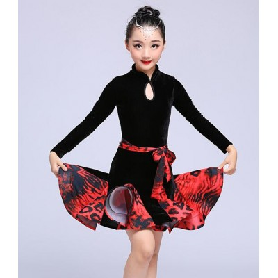 Black velvet long sleeves competition girl's kids children stage performance ballroom latin dance dresses costumes