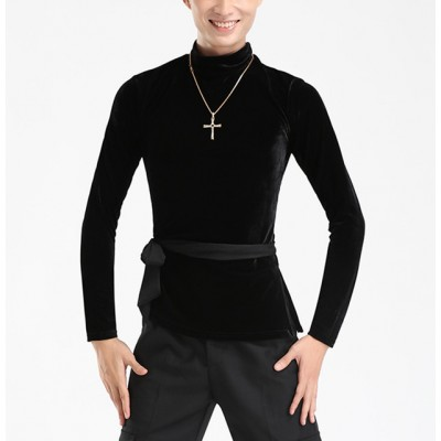 Black velvet long sleeves turtle neck competition winter exercises ballroom latin cha cha dance shirts tops
