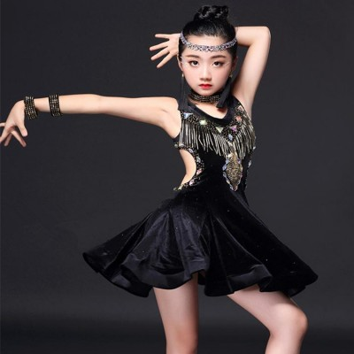 Black Velvet rhinestones beads fringes competition performance girl's kids children latin ballroom dance dresses