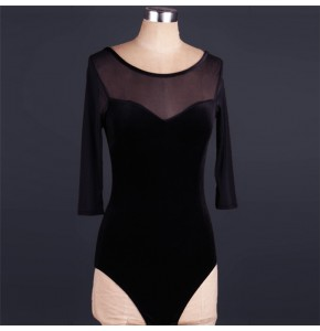 Black velvet turquoise see though back sexy women's female  competition gymnastics performance ballroom latin salsa dance tops bodysuits