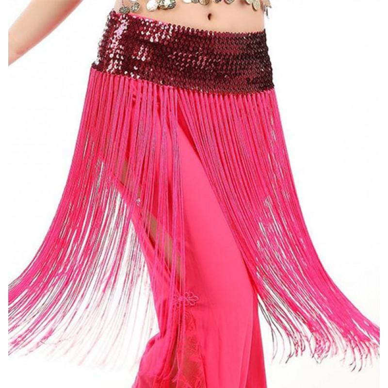 79bbc44ec2c Black white gold royal blue Belly Dancing Oriental Dance Hip Scarf Long  Tassel Sequins Dancing Waist