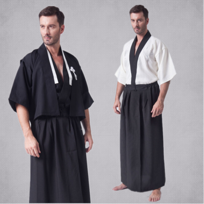 Black white Japan Tradition Japanese Kimono Men male Yukata Clothing  Vest Top Coat Skirt for film Cosplay Bathrobe Show