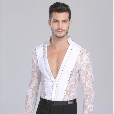 Black white lace competition rhinestones Waltz Latin Dance Top Men Latin Dance Shirts Men Ballroom Dance Shirts